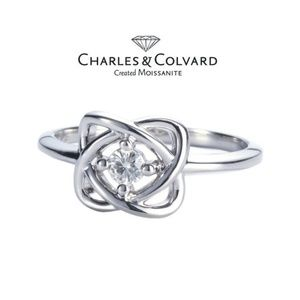 NIB Charles & Colvard Moissanite Ster. Silver Ring